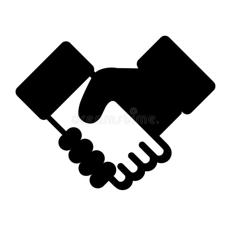 Skaka händer - affärsvektorsymbol - som isoleras på vit bakgrund stock illustrationer