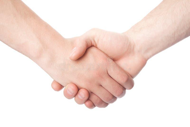 Skaka händer av två manliga personer royaltyfri bild