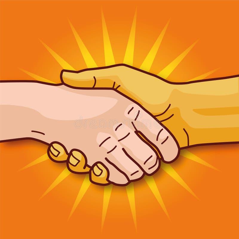 Skaka händer och samarbete stock illustrationer