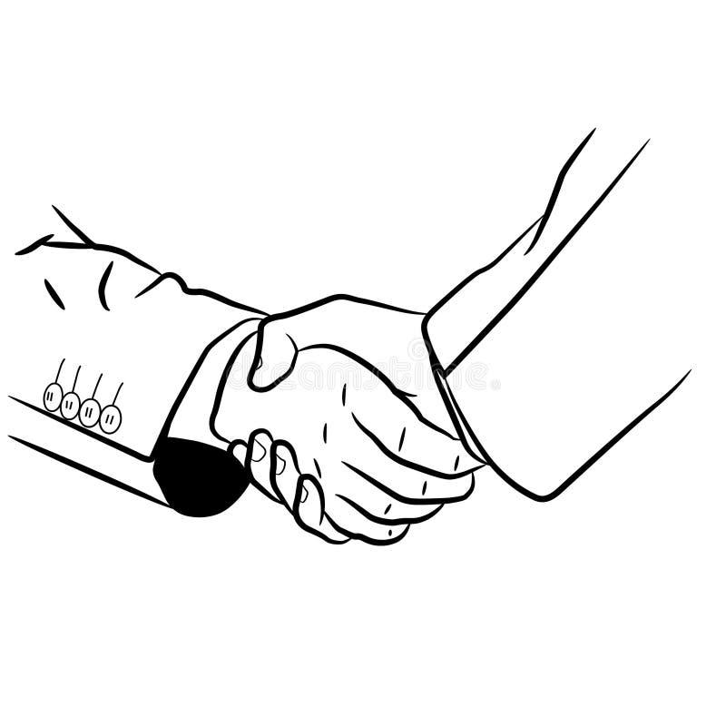 Skaka handillustrationen vid crafteroks stock illustrationer