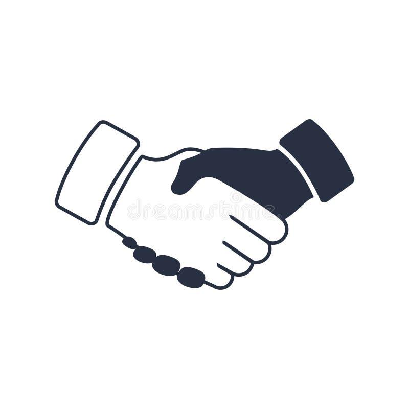 Skaka handsymbolen Svart symbolshandskakning Bakgrund för affär och finans royaltyfri illustrationer