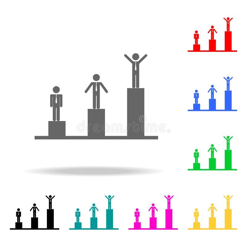 skala av framgångsymbolen Beståndsdelar av mång- kulöra symboler för teamwork Högvärdig kvalitets- symbol för grafisk design Enke stock illustrationer