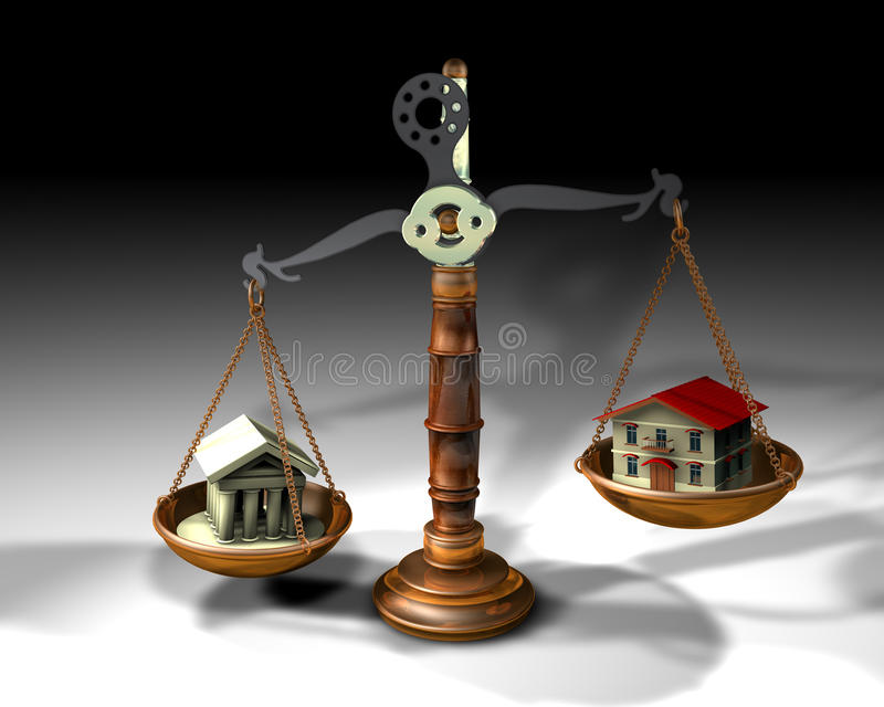Skala, Börse und Haus stock abbildung