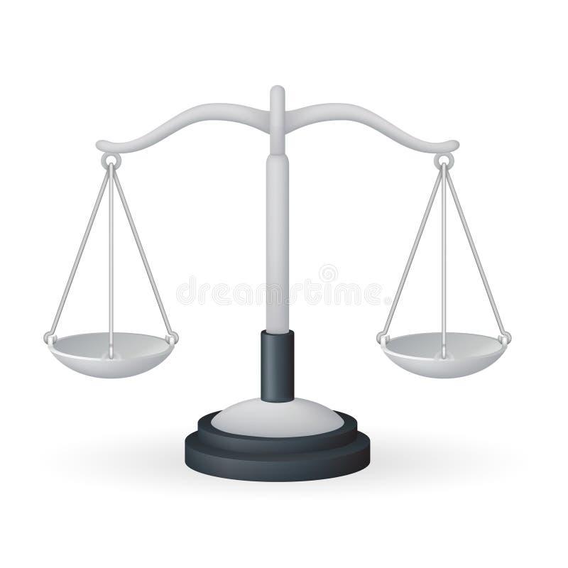 Skala ciężaru pomiaru równości równowagi ikony ikony 3d projekta wektoru instrument odizolowywającej realistycznej ilustracji mia royalty ilustracja