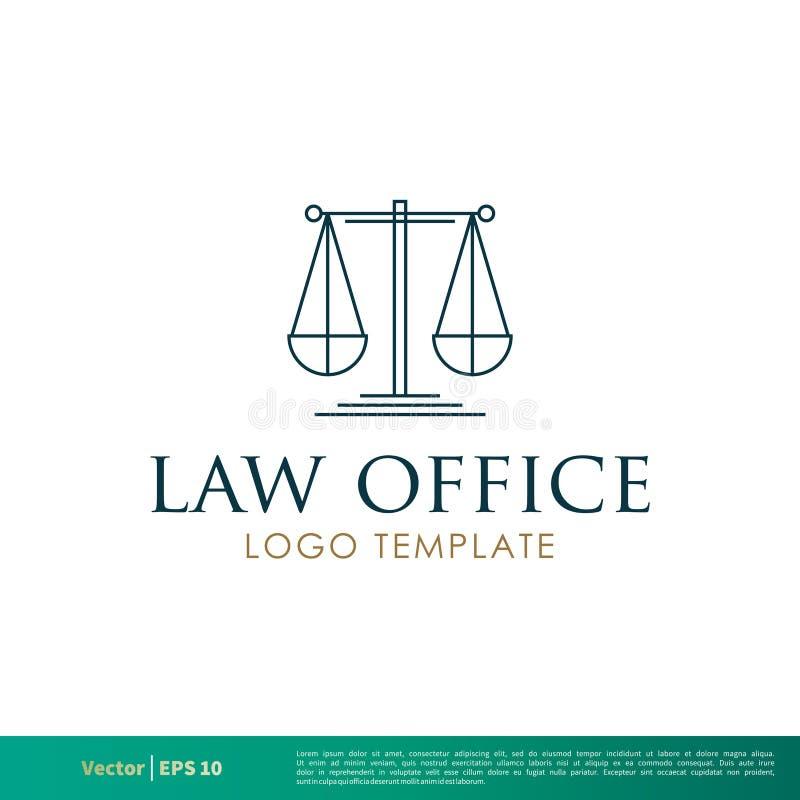 Skala des Gerechtigkeits-Rechtsanwaltsbüros, Sozietät, Rechtsanwalt Icon Vector Logo Template Illustration Design Vektor ENV 10 lizenzfreie abbildung
