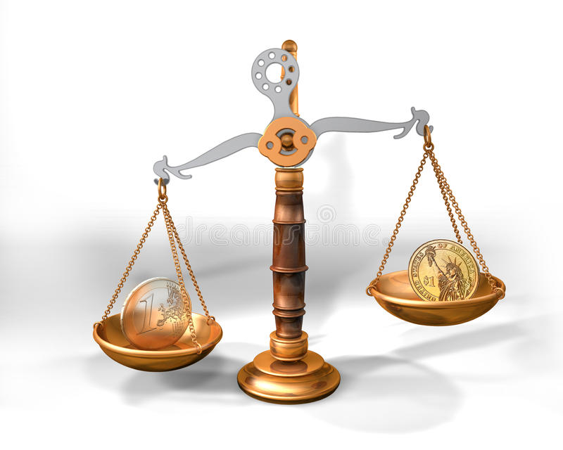 Skala, Dollar und Euromünzen stock abbildung