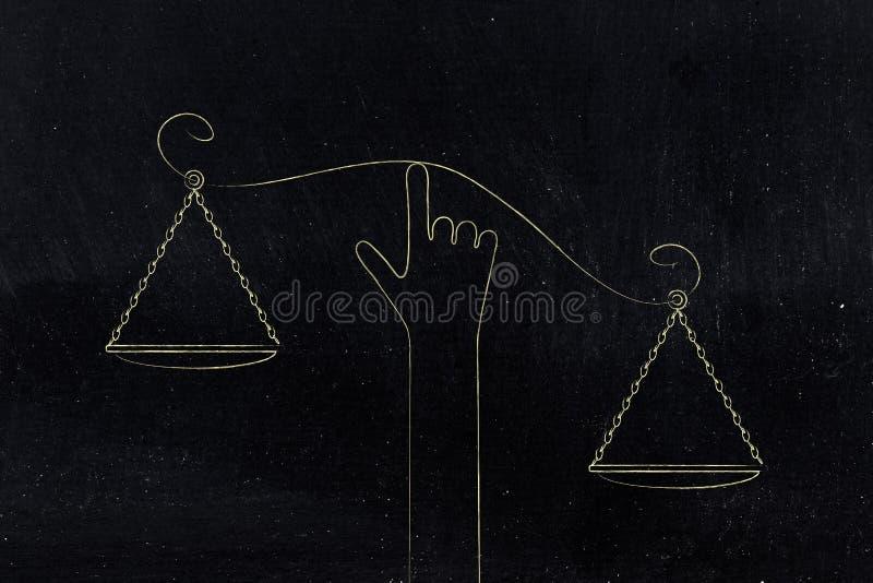Skala för handinnehavjämvikt med bringade ur balans plattor royaltyfri illustrationer