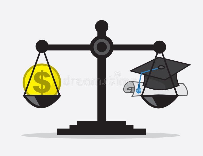 Skala-Geld-Diplom lizenzfreies stockfoto