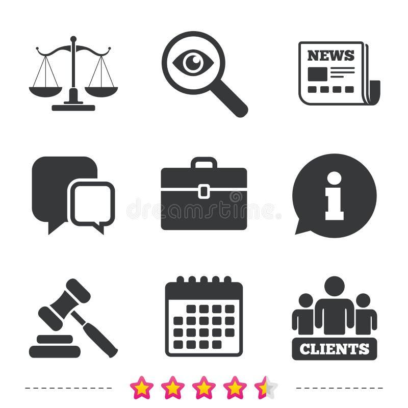 Skala sprawiedliwości ikona Aukcyjny młot i skrzynka ilustracja wektor