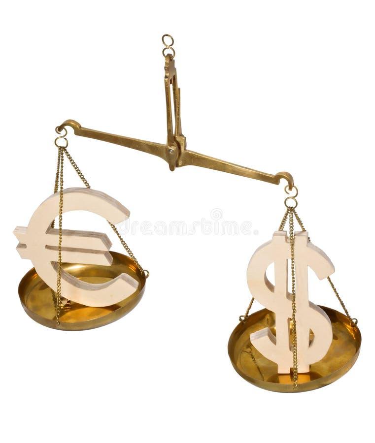 Skala z dolarowymi znakami i euro fotografia royalty free
