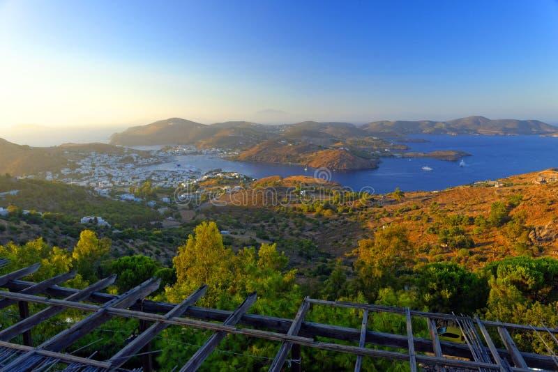 Skala zatoka, Patmos wyspa zdjęcie stock