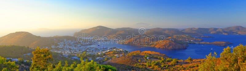 Skalabaai, Patmos-eiland stock foto
