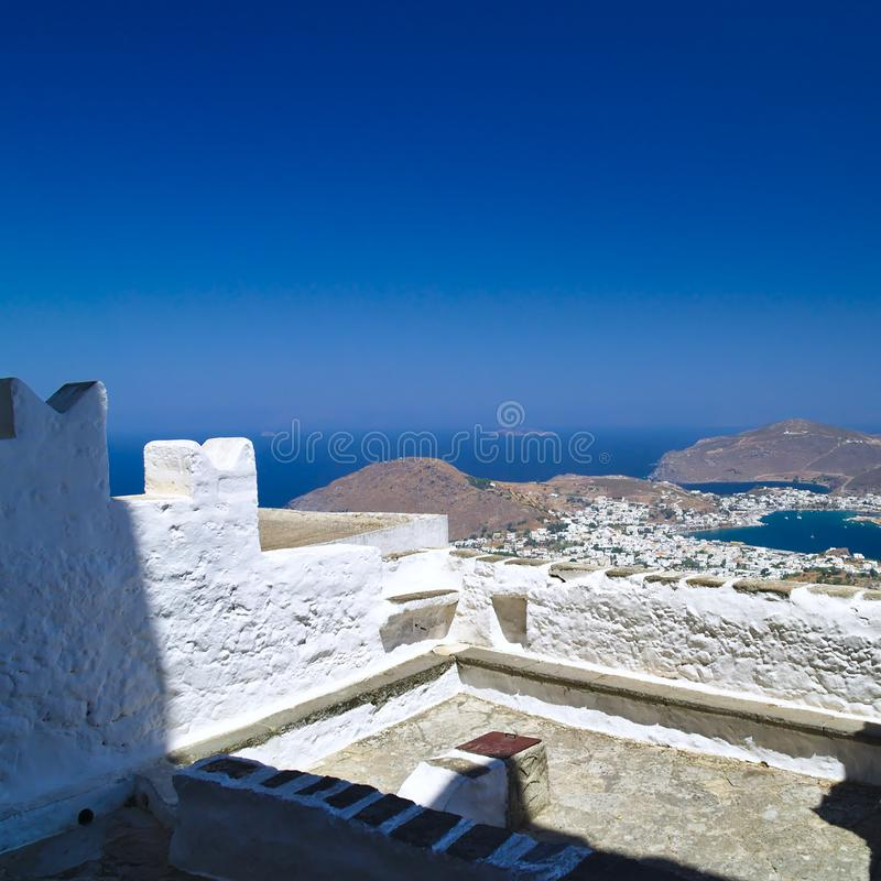Skaladorp in Patmos-eiland, Griekenland stock foto