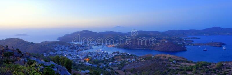 Skalahaven op Patmos-Eiland royalty-vrije stock foto's