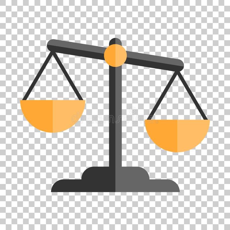 Skalajämförelsesymbol i plan stil Illus för vektor för jämviktsvikt stock illustrationer