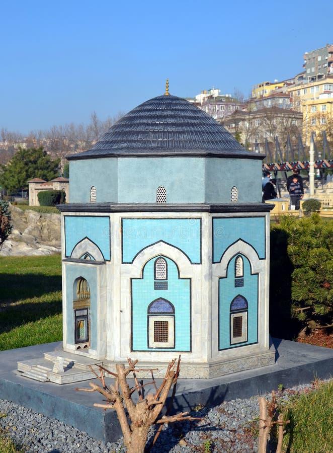Skalamodell av den gröna mausoleet (Yesil Turbe) i Bursa royaltyfria foton