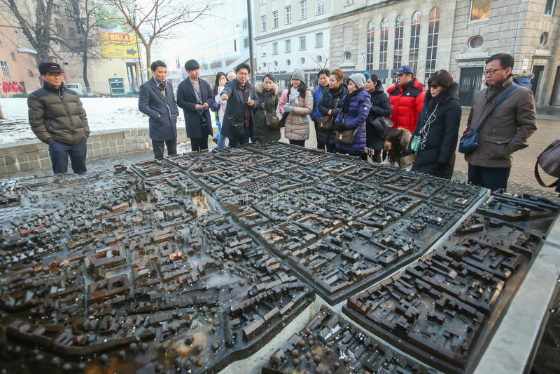 Skalamodell av den Zagreb staden fotografering för bildbyråer