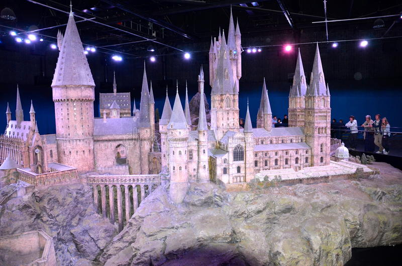 Skalamodell av Hogwarts, Warner Bros Studio arkivfoto