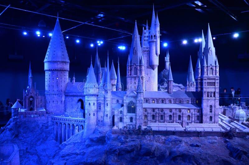 Skalamodell av Hogwarts, Warner Bros Studio Tour royaltyfria foton