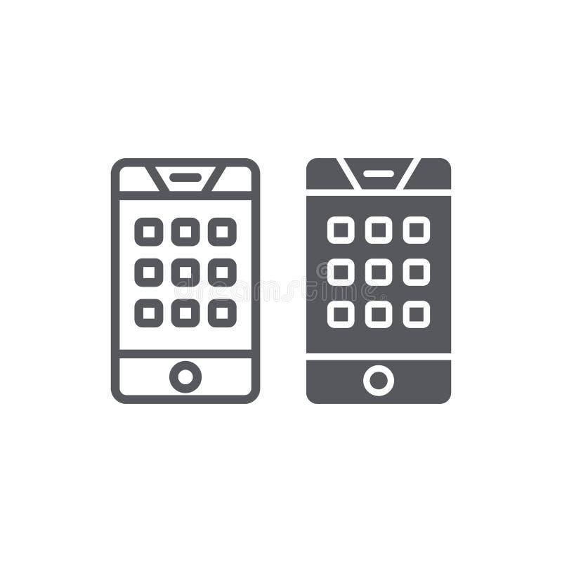 Skalazahl auf Telefonleitung und Glyphikone, Mobile und Anruf, Tastatur auf Smartphonezeichen, Vektorgrafik, ein lineares Muster stock abbildung