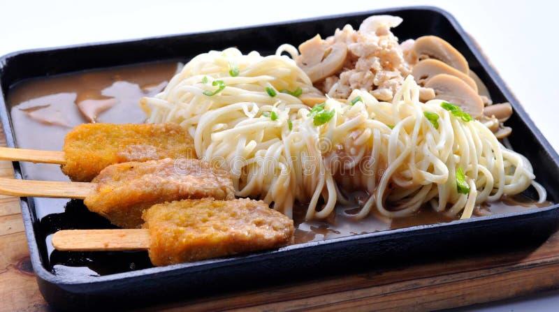 skaldjur för asia mat stekt nudelrice royaltyfria bilder
