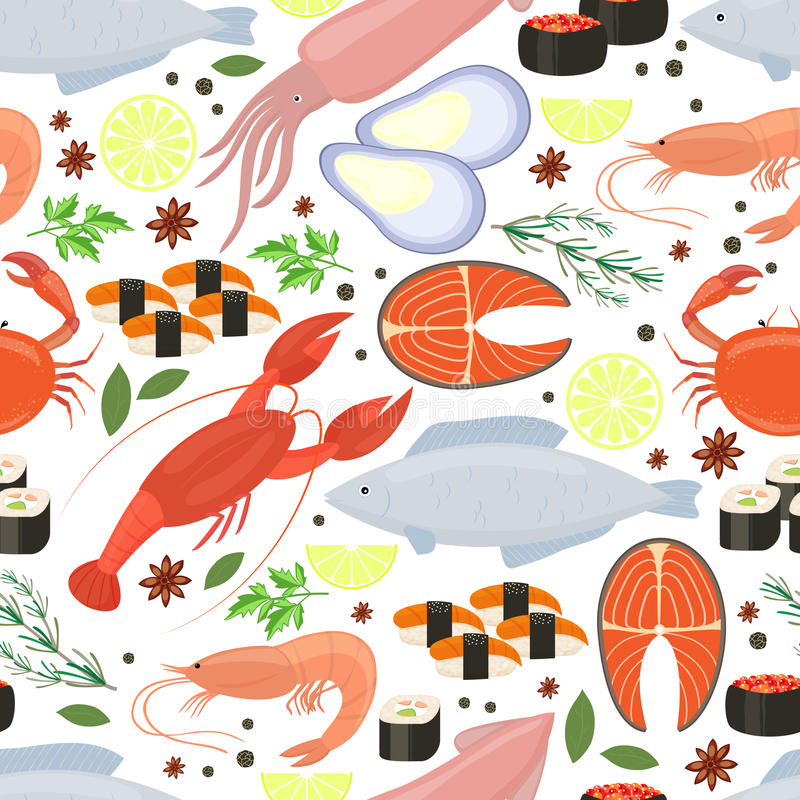 Skaldjur och kryddabakgrund för restaurangmeny stock illustrationer