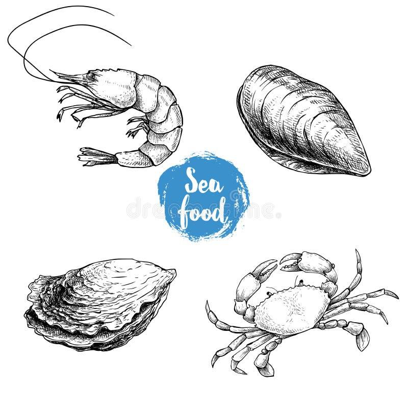 Skaldjur skissar uppsättningen Ny räka, stängd mussla och ostron, krabba Samling för havsmarknadsprodukter också vektor för corel royaltyfri illustrationer