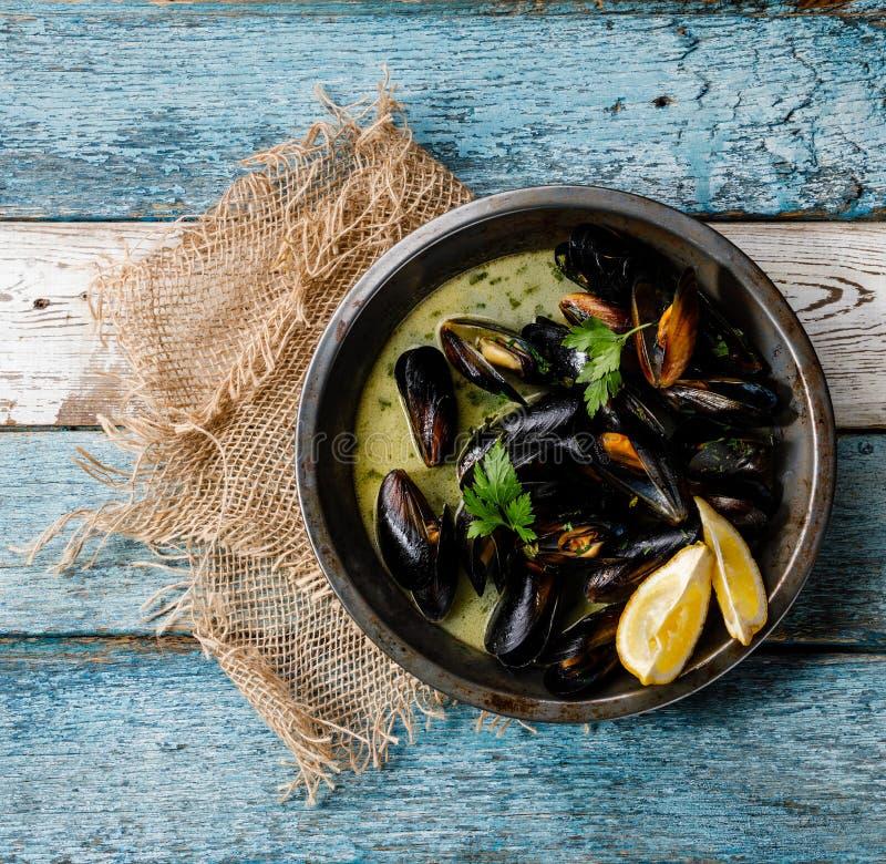 Skaldjurmusslor samlar musslor med sås och persilja för vitt vin fotografering för bildbyråer