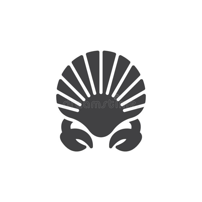 Skaldjursymbolsvektor, fyllt plant tecken, fast pictogram som isoleras på vit vektor illustrationer