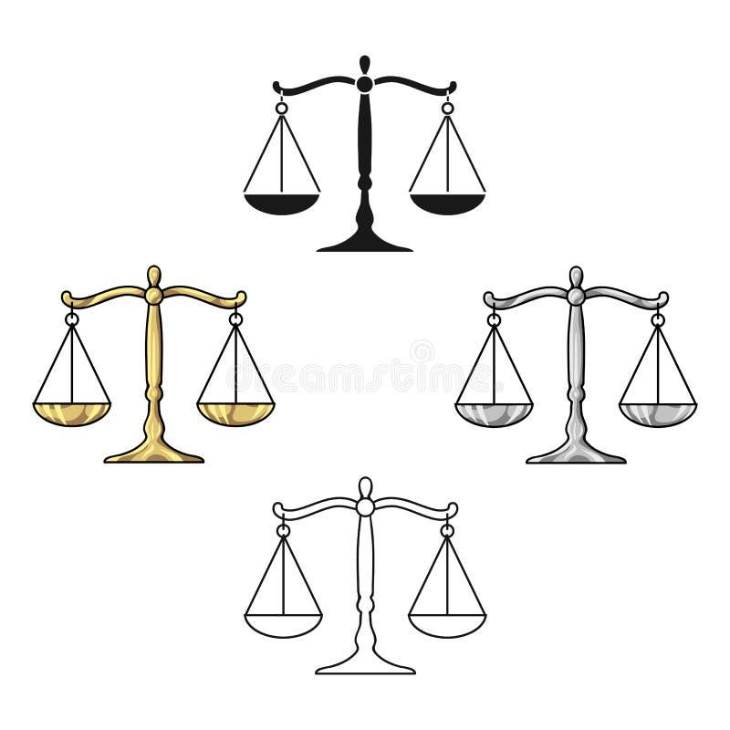 Skale sprawiedliwości ikona w kreskówce, czerń styl odizolowywający na białym tle Przest?pstwo symbolu zapasu wektoru ilustracja ilustracja wektor