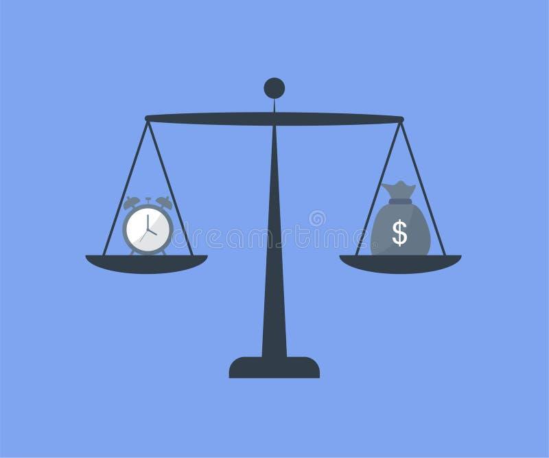 Skale z godzinami i pieniądze ilustracja wektor
