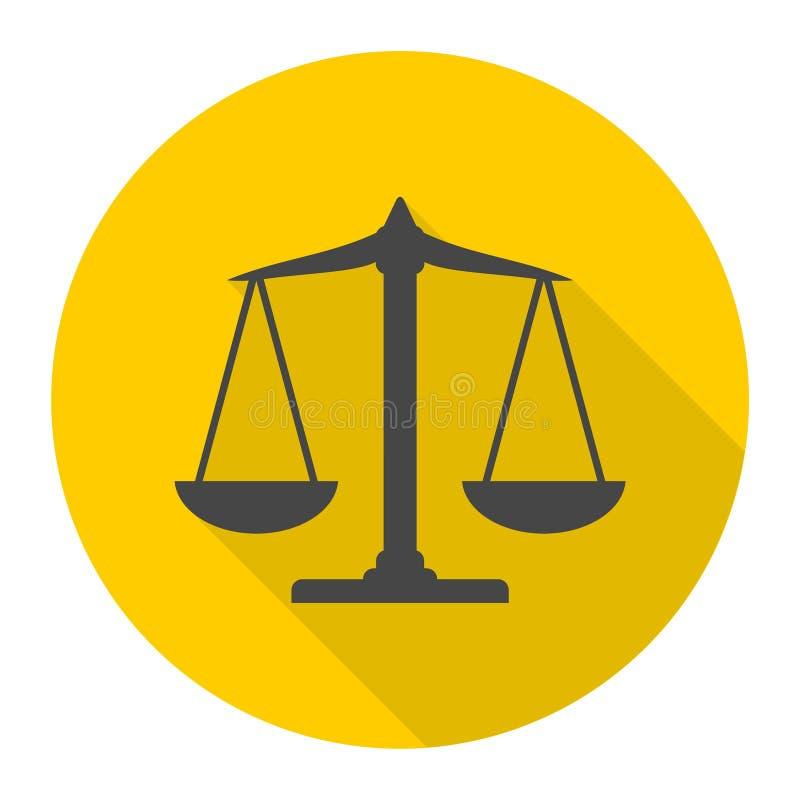 Skalen balancieren Ikone, Gerechtigkeit Scale Icon mit langem Schatten stock abbildung