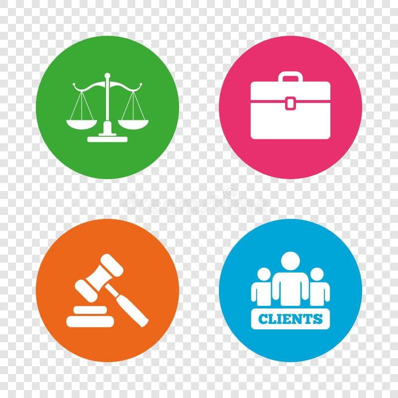 Skalen der Gerechtigkeitikone Auktionshammer und -fall stock abbildung