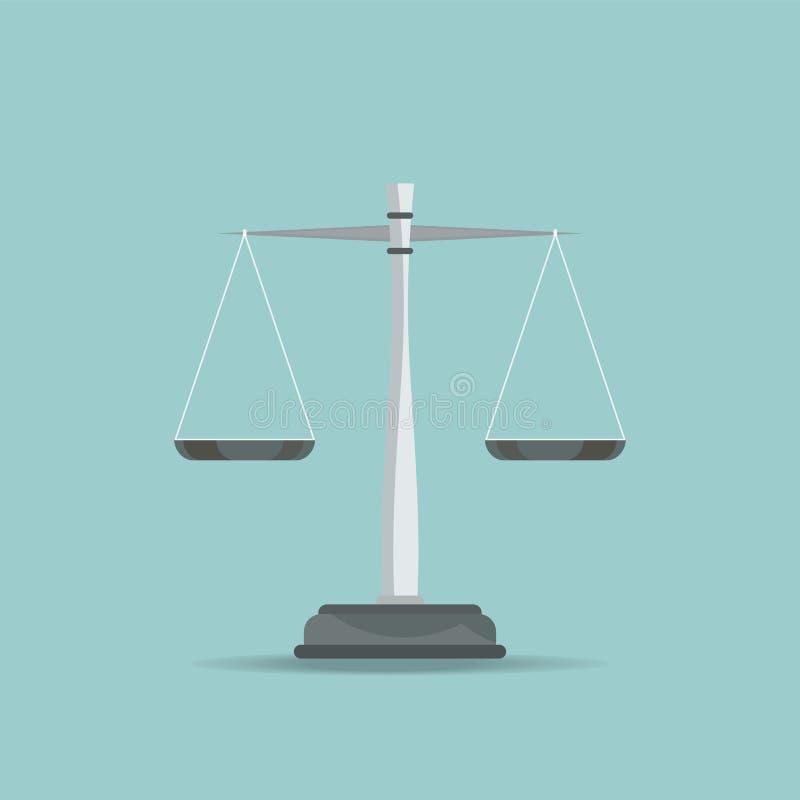 Skalen der Gerechtigkeitsikone auf blauem Hintergrund lizenzfreie abbildung
