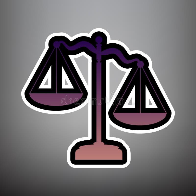 Skalen des Gerechtigkeitszeichens Vektor Violette Steigungsikone mit Schwarzem lizenzfreie abbildung