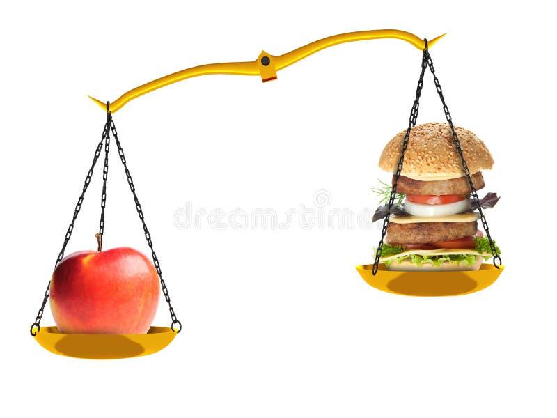 Skalen mit einem Apfel und einem Hamburger stockbild