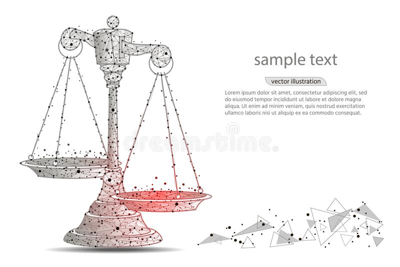 Skalen von Gerechtigkeit Abstraktes Design von Skalen, in Form von Linien und Punkten auf einem weißen Hintergrund mit Raum für T stock abbildung