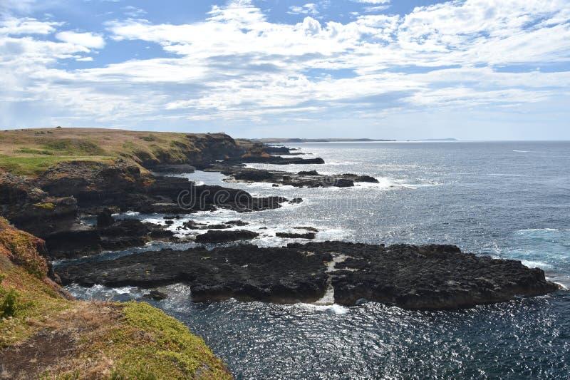 Skalista linia brzegowa Nobbies w Phillip wyspie zdjęcie stock