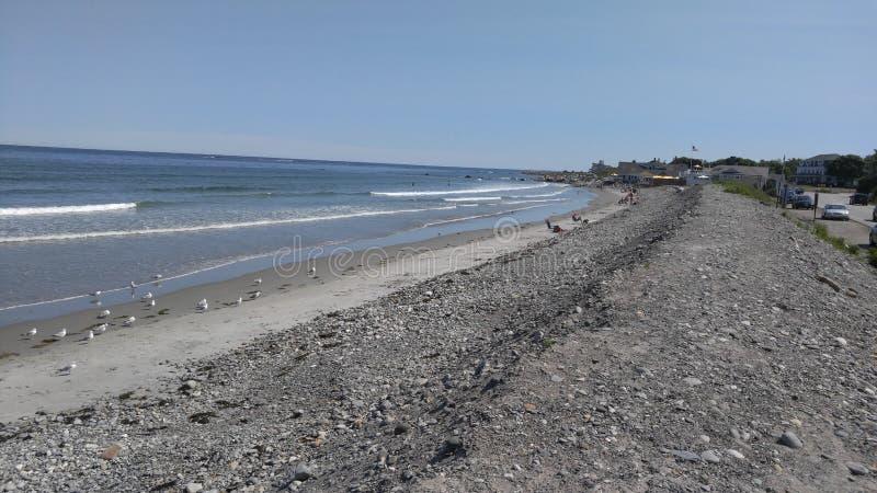 Skalista Piaskowata plaża w Maine Nowa Anglia obrazy stock