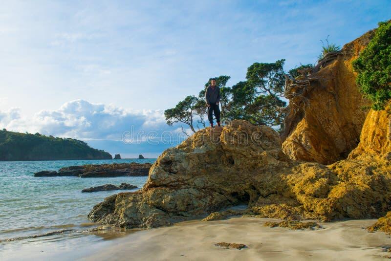 Skalista plaża patrzeje horyzont fotografia stock