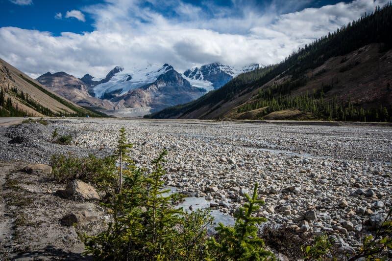 Skalista rzeczna tundra wzdłuż Icefields Parkway w Kanadyjskich Skalistych górach, Jaspisowy park narodowy fotografia royalty free