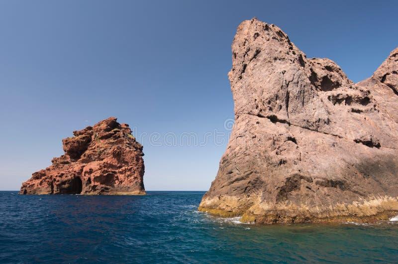 Skaliste wyspy naturalny park Scandola obrazy royalty free