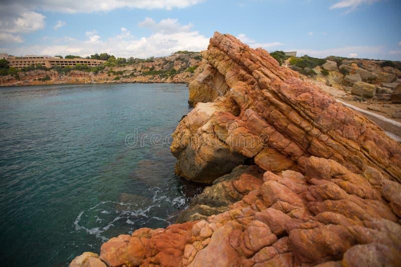 Skalisty brzeg morze egejskie, Ateny, Grecja Podróż zdjęcie royalty free