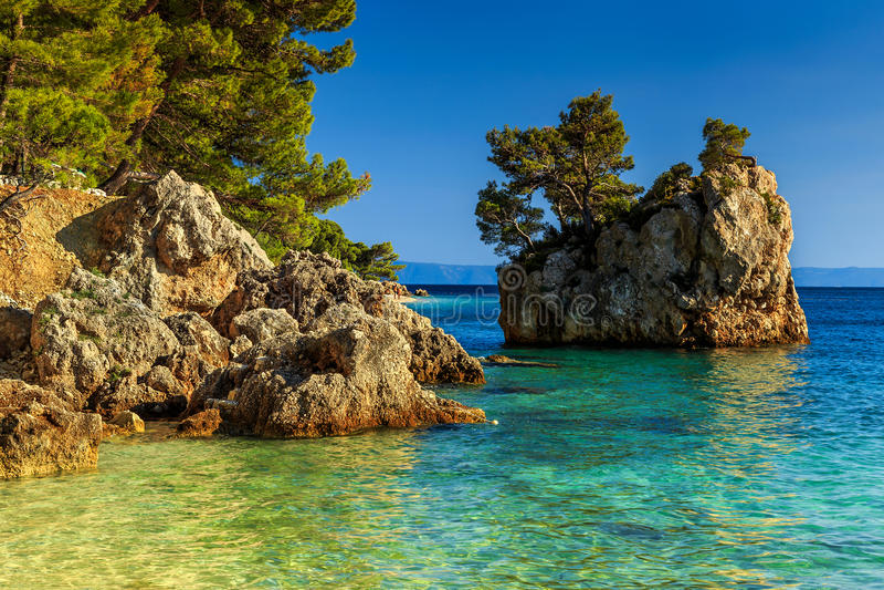 Skalisty brzeg z kryształem - jasna woda morska, Brela, Dalmatia, Chorwacja fotografia royalty free