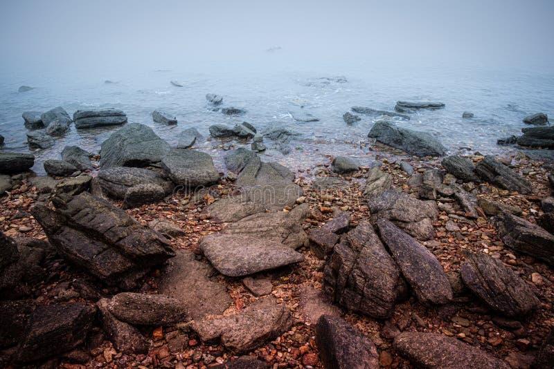 Skalisty denny wybrzeże przy świtem z mgły natury tłem zdjęcie stock