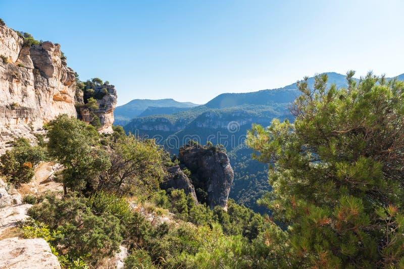 Skalisty krajobraz w Siurana De Prades, Tarragona, Catalunya, Hiszpania Odbitkowa przestrzeń dla teksta fotografia royalty free