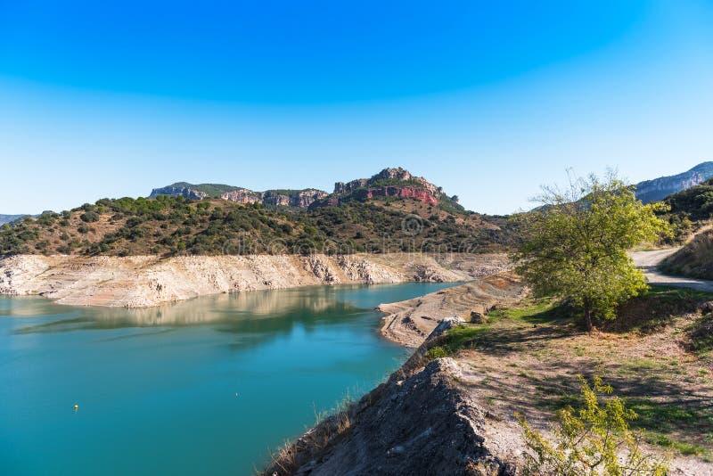 Skalisty krajobraz w Siurana De Prades, Tarragona, Catalunya, Hiszpania Odbitkowa przestrzeń dla teksta fotografia stock