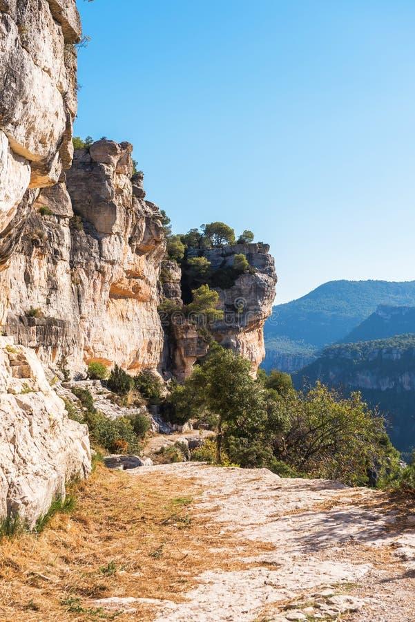 Skalisty krajobraz w Siurana De Prades, Tarragona, Catalunya, Hiszpania Odbitkowa przestrzeń dla teksta pionowo zdjęcie royalty free