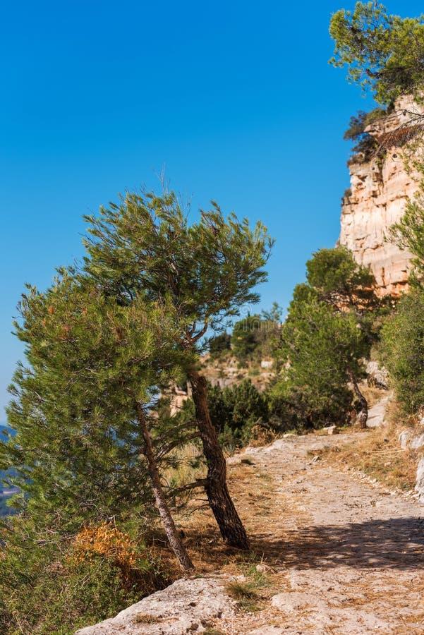 Skalisty krajobraz w Siurana De Prades, Tarragona, Hiszpania Odbitkowa przestrzeń dla teksta pionowo obraz royalty free