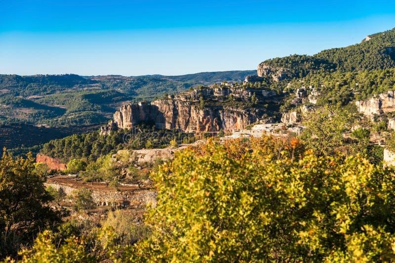 Skalisty krajobraz w Siurana De Prades, Tarragona, Hiszpania Odbitkowy zdrój obraz royalty free